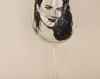 Hand Painted Wine Glass - NICOLE KIDMAN, Movie Star, Actress