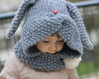 Rabbit Hood Knitting Pattern ZAÏKA (Toddler, Child sizes)