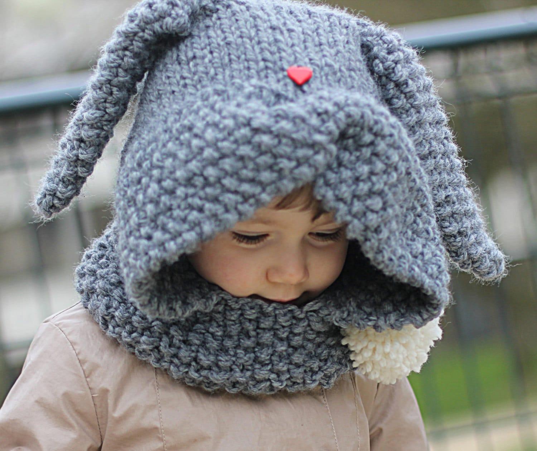 Rabbit Hood Knitting Pattern ZA?KA Toddler Child sizes