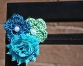 Crochet and Shabby Flower Embellished Elastic FOE Headband - TheStitchedEdge