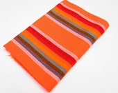 Mexican Fabric, aztec fabric, Mexican fabric by the yard, colorful tribal fabric, orange with colrful stripes, Mexican wedding decoration.