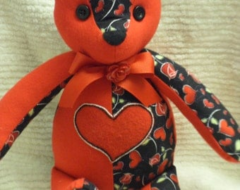 Handcrafted Red Rose and Heart Teddy Bear