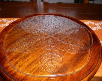 LEAF PRINT///// Vintage Glass Serving Platter/Decoration