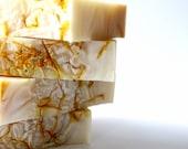 natural vegan soap, yellow australian clay, calendula flower petals, unscented simple soap .. calendula and clay