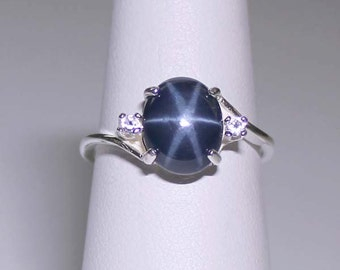 3.0-ct Genuine Blue Star Sapphire Sterling Silver Ring with Accents / Blue Star Sapphire Ring