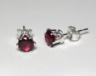 Red Ruby Earrings Sterling Silver JULY BIRTHSTONE / Red Ruby Stud Earrings Birthstone July