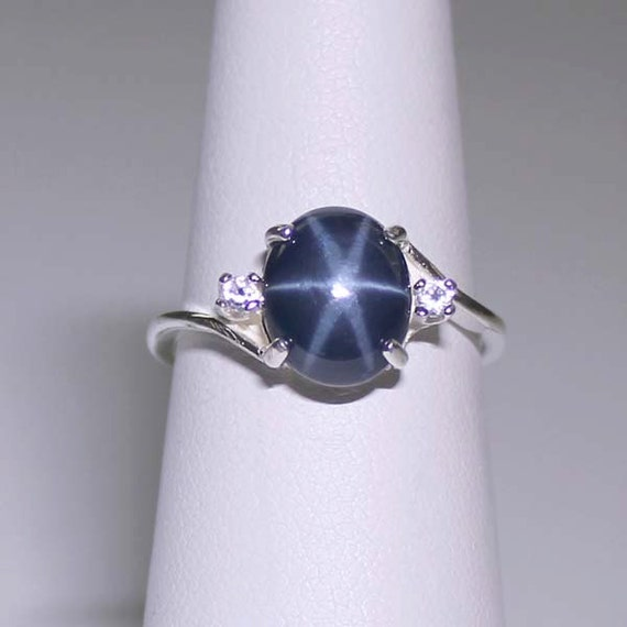 3 0 Ct Genuine Blue Star Sapphire Sterling Silver Ring With