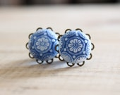 Wedding Plugs Blue and White Painted Mosaic Gauges 4g 2g 0g 00g Custom Bridal Wear for Stretched Ears Upcycled Vintage Piercing