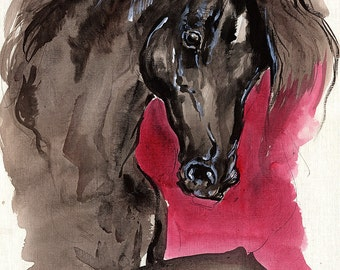 Black horse original acrylic painting on paper