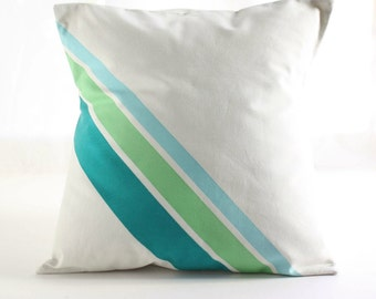"18""x18"" PILLOW COVER  Decorative Pillow - hand painted cushion - Blue hues stripes"