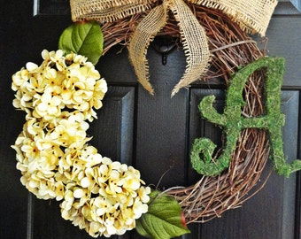 Antique White Hydrangea Wreath With Moss Monogram and Perfect Burlap Bow for Housewarming or Wedding
