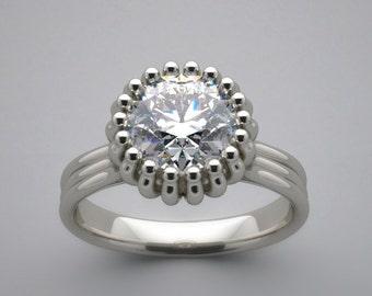 Engagement Ring Setting Antique Deco Style 14K Gold