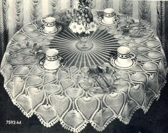 Pineapple Crochet Tablecloth Pattern Vintage 1940's