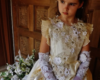 CUSTOM Victorian Flower Girl Pageant Embroidered Beaded Pleated Rose Creamy Dress