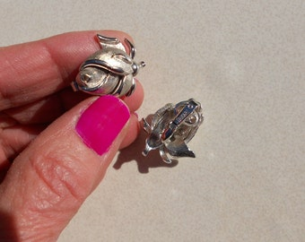 Vintage Rose earrings by Crown Trifari 1960s vintage textured metal jewelry clip on