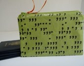 Passport Pouch - Passport Case - Zippered Pouch - Water Resistent Pouch - Fabric Pouch - Cosmetic Pouch - Comma