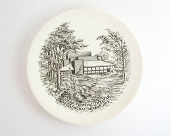Vintage Wedgwood China Plate - Shaw Festival Souvenir Plate - Mid Century Modern Architecture Art - Black and White Art - Transferware Plate