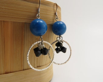 Turquoise and Black Crystal Cluster Dangle Earrings - READY TO SHIP - Handmade Jewelry - Blue Earrings