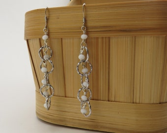 White Waterfall Earrings - READY TO SHIP - Simple Dangle Earrings - Everyday Jewelry - Handmade White Earrings