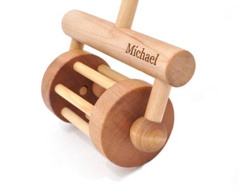 Personalized Push Toy - Push and Pull Rattle - Wooden Toy for Toddlers - Personalized Gift for a Boy or a Girl - Montessori Inspired Toy