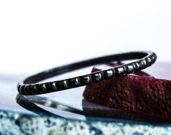 Beaded & Oxidized Sterling Silver Stacking Ring