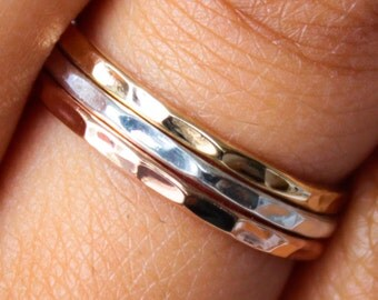 Thin Gold Ring - Tri Color Stack Ring Set