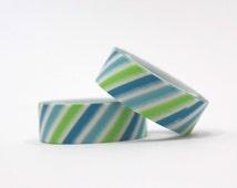 Pastel Blue Green Diagonal Stripe Washi Tapes / Japanese Masking Tapes