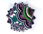 "Purple & Teal Talavera Style Coasters/Talavera Style Tiles -- ""Classic Medallion"" -- Set of Four"