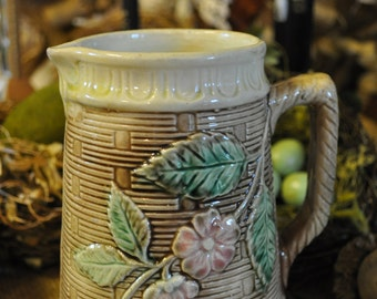 Wonderful Majolica Pitcher, Antique pitcher, Majolica pottery, Vintage