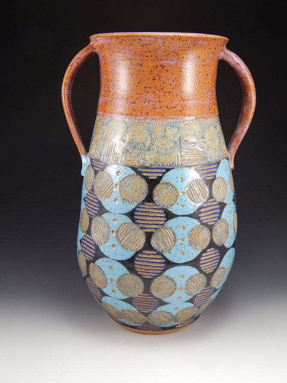 Sgraffito carved vase hand thrown pottery by firenfluxhandmade