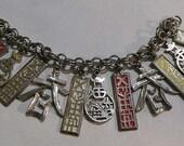Asian Theme CHARM BRACELET, Enamel & silver tone chain charms, Marked Germany, Pre WWII, Charm, Bracelet