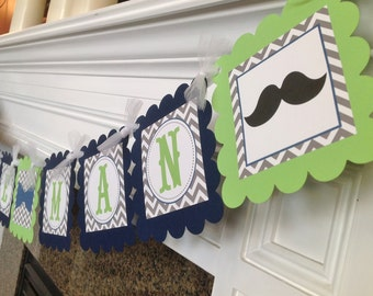 Mustache Bash Little Man Baby Shower - Lime Green & Navy Blue card stock with Gray Chevron - Party Packs Available