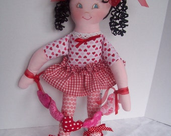 "Cloth Doll PDF Pattern Lil Sweetheart 17"" Easy Soft Doll Pattern  - Great Beginner Sewing Pattern by Peekaboo Porch"