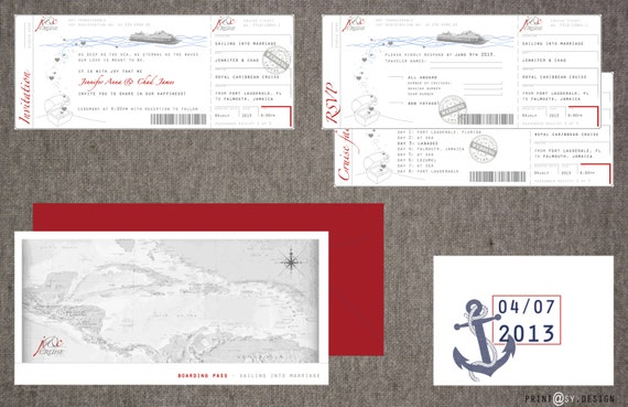 cruise wedding invitations items similar to wedding invitation boarding pass cruise 3201
