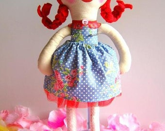 Cloth doll Lilly May, handmade, OOAK