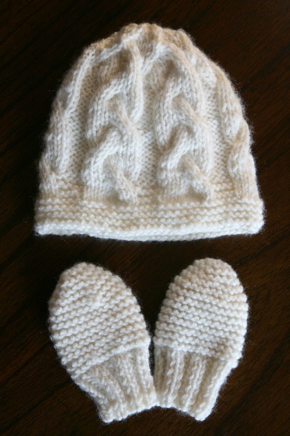 Knitting Pattern For Baby Hat And Mittens : KNITTING PATTERN Cable hat and mittens 3-6 months