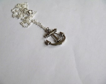 Silver Anchor with Rope Necklace