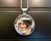 Joe Flacco Baltimore Ravens Pendant In Silver Bezel, Trading Card Image