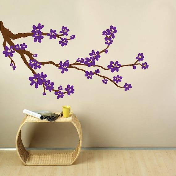 fleur branche tissu mural autocollant arbre. Black Bedroom Furniture Sets. Home Design Ideas