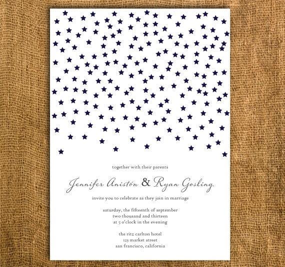Starry Night Printable Wedding Invitation