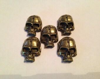 "10 pack, Metal Skull Biker Bead for Paracord Lanyards, Key Fobs, and Bracelets. Big 1"" x 1.25"" x 3/8"""