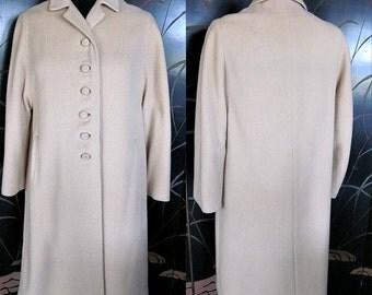 20% MINK 80 CASHMERE Vintage 50s hand tailored Coat // fits S to M // topstitch detail // Elegant Fashions