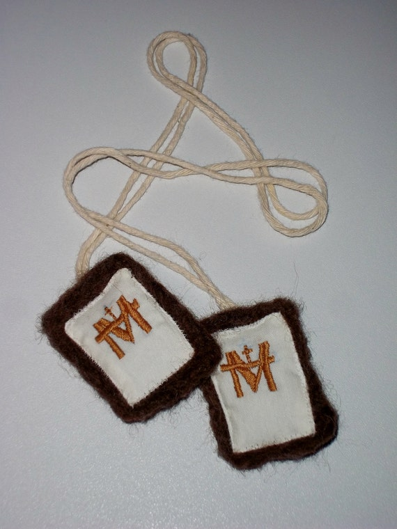 Large Brown Scapular of Our Lady of Mt. Carmel Catholic un-dyed wool ...