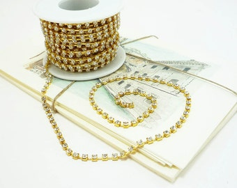 Gold Rhinestone Chain, Clear Crystal, (3mm / 1 Foot Qty)