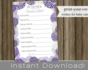 Baby Shower Well Wishes for Baby girl purple hydrangea flowers and gray INSTANT DOWNLOAD diy printable file print your own , babyshower idea