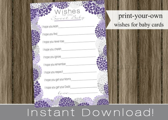 Baby Shower Well Wishes for Baby girl purple hydrangea flowers and gray INSTANT DOWNLOAD diy printable file print your own , babyshower