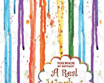 10 pc Paint Party Folded THANK YOU // Art Party // Paint Brush Strokes // Splatter // Blank Inside