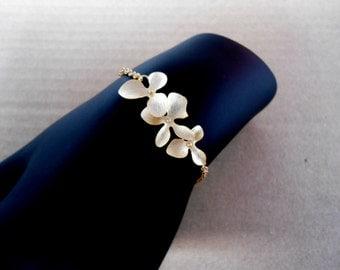 Orchid bracelet , flower bracelet , cascade flower gold bracelet , modern bracelet , bridesmaid bracelet