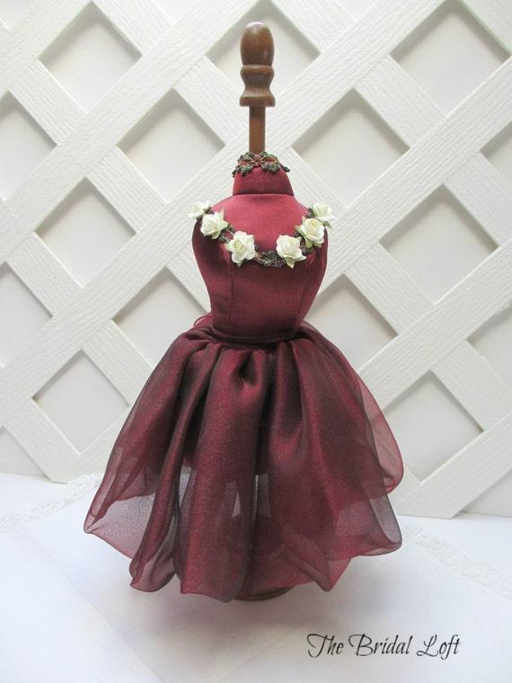 Items similar to burgundy dress form decorations