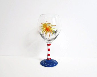 Hand painted wine glass fourth of July labor day memorial day fireworks flag patriotic glass red white and blue custom glass